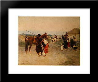 Off To War: Modern Black Framed Art Print by Mykola Pymonenko