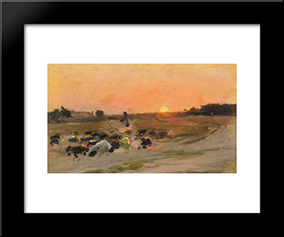 Sheperding The Flock: Modern Black Framed Art Print by Mykola Pymonenko