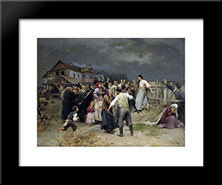 Victime Of Fanatisme: Modern Black Framed Art Print by Mykola Pymonenko