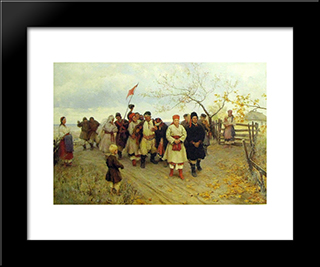 Wedding In Kiev Province: Modern Black Framed Art Print by Mykola Pymonenko