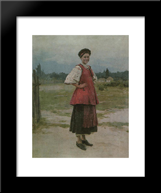 Young Woman: Modern Black Framed Art Print by Mykola Pymonenko