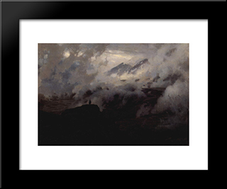 Elbrus In The Clouds: Modern Black Framed Art Print by Mykola Yaroshenko