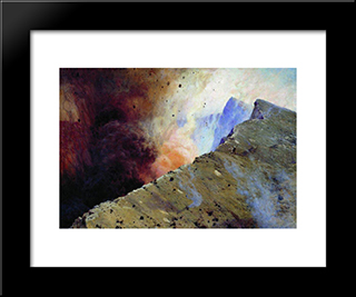 Eruption Of Volcano: Modern Black Framed Art Print by Mykola Yaroshenko