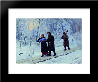 Funeral Of Firstborn: Modern Black Framed Art Print by Mykola Yaroshenko