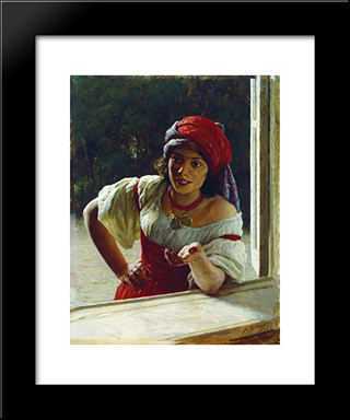 Gypsy Woman: Modern Black Framed Art Print by Mykola Yaroshenko
