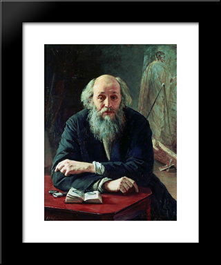 Portrait Of Nikolaj Nikolajewitsch Ge: Modern Black Framed Art Print by Mykola Yaroshenko