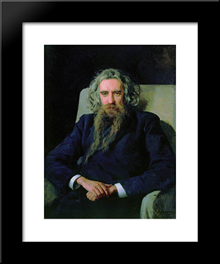 Portrait Of Vladimir Solovyov: Modern Black Framed Art Print by Mykola Yaroshenko