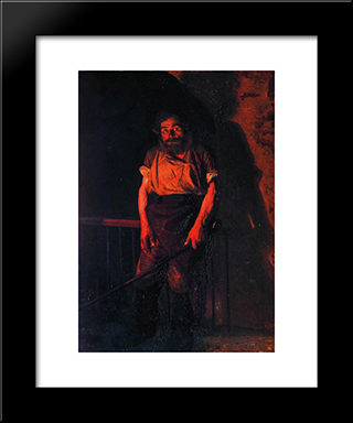 The Stoker: Modern Black Framed Art Print by Mykola Yaroshenko