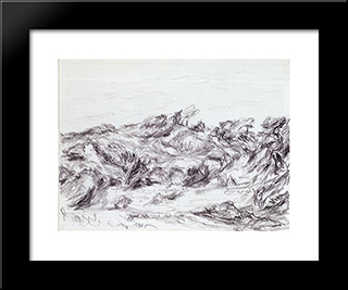 Untitled (Dunes With Peaked Brush): Modern Black Framed Art Print by Myron Stout