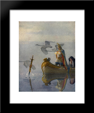And When They Came To The Sword That The Hand Held, King Arthur Took It Up: Modern Black Framed Art Print by N.C. Wyeth