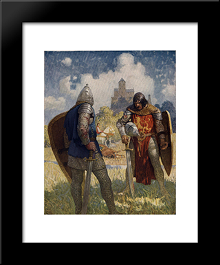 I Am Sir Launcelot Du Lake, King Ban'S Son Of Benwick, And Knight Of The Round Table: Modern Black Framed Art Print by N.C. Wyeth