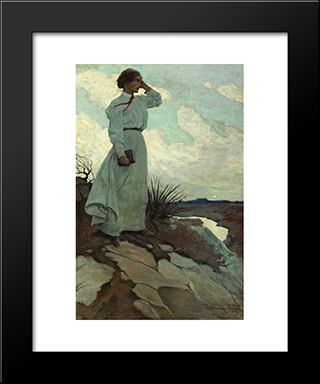 Louise Loved To Climb To The Summit On One Of The Barren Hills Flanking The River, And Stand There While The Wind Blew: Modern Black Framed Art Print by N.C. Wyeth