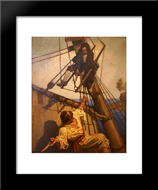 One More Step, Mr. Hands, Said I, And I'Ll Blow Your Brains Out: Modern Black Framed Art Print by N.C. Wyeth