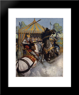Sir Mador'S Spear Brake All To Pieces, But The Other'S Spear Held: Modern Black Framed Art Print by N.C. Wyeth