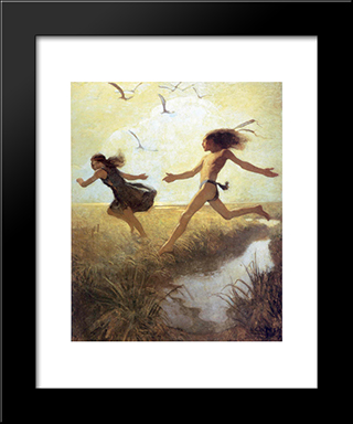 The Children Were Playing At Marriage-By-Capture: Modern Black Framed Art Print by N.C. Wyeth