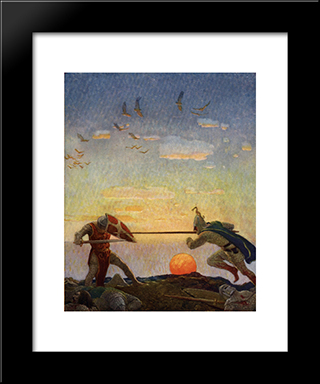 The Death Of Arthur And Mordred: Modern Black Framed Art Print by N.C. Wyeth