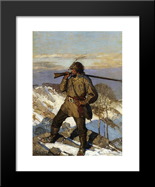 The Frontiersman Pupular Magazine Cover Illustration: Modern Black Framed Art Print by N.C. Wyeth
