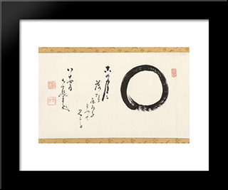 Enso With A Poem: Modern Black Framed Art Print by Nakahara Nantenbo