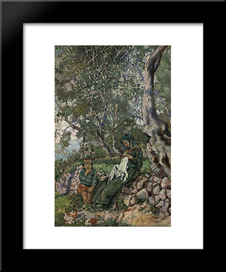 A Mother And Son Seated By A Wall Before The Sea: Modern Black Framed Art Print by Niccolo Cannicci
