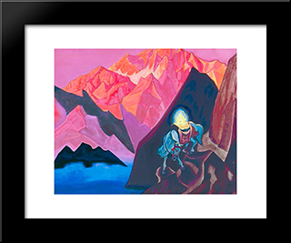 A Depiction Of The Cintamani Being Carried By The Lung Ta (Wind Horse): Modern Black Framed Art Print by Nicholas Roerich