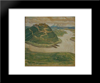 Ancient City: Modern Black Framed Art Print by Nicholas Roerich