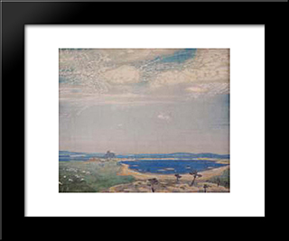 Ancient Landscape: Modern Black Framed Art Print by Nicholas Roerich