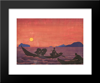 And We Continue Fishing: Modern Black Framed Art Print by Nicholas Roerich