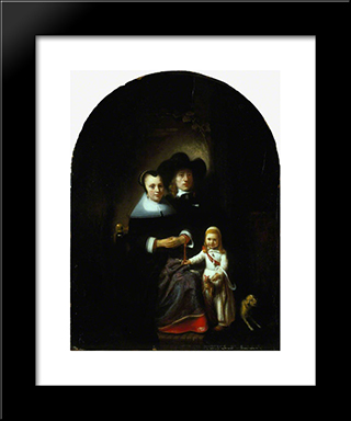 A Dutch Family Group: Modern Black Framed Art Print by Nicolaes Maes