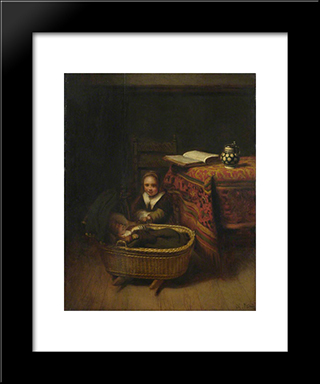 A Little Girl Rocking A Cradle: Modern Black Framed Art Print by Nicolaes Maes