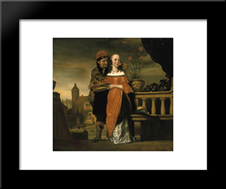A Man Holding A Carnation To A Woman'S Nose. An Allegory Of The Sense Of Smell: Modern Black Framed Art Print by Nicolaes Maes