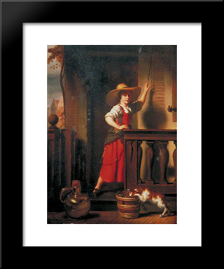 A Woman Selling Milk: Modern Black Framed Art Print by Nicolaes Maes