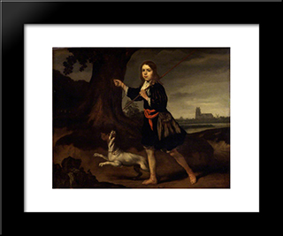 A Young Boy With His Dog: Modern Black Framed Art Print by Nicolaes Maes