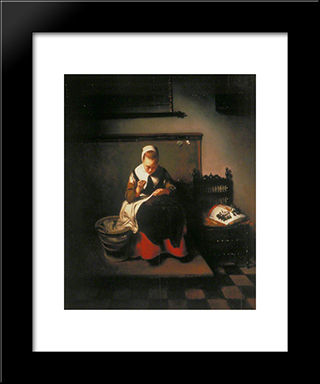 A Young Woman Sewing: Modern Black Framed Art Print by Nicolaes Maes