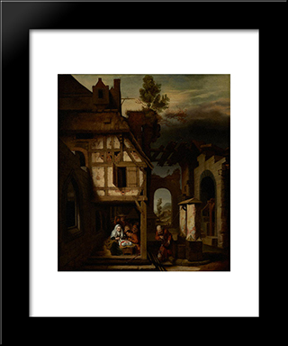 Adoration Of The Shepherds: Modern Black Framed Art Print by Nicolaes Maes