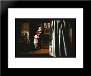 An Eavesdropper With A Woman Scolding: Modern Black Framed Art Print by Nicolaes Maes