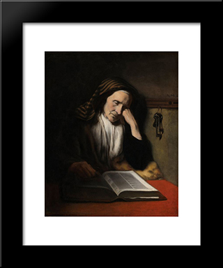 An Old Woman Dozing Over A Book: Modern Black Framed Art Print by Nicolaes Maes