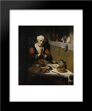 An Old Woman Praying: Modern Black Framed Art Print by Nicolaes Maes
