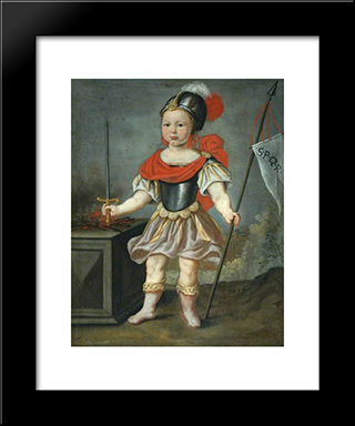 Boy In Fancy Dress As A Roman Soldier: Modern Black Framed Art Print by Nicolaes Maes