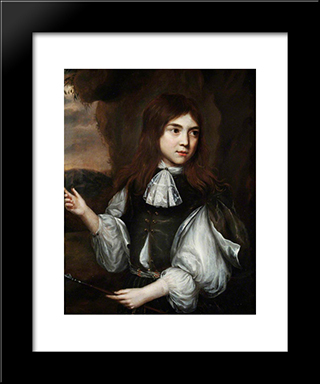 Boy With A Spear: Modern Black Framed Art Print by Nicolaes Maes