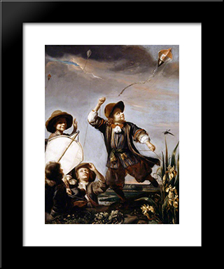 Boys Flying Kites: Modern Black Framed Art Print by Nicolaes Maes