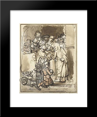 Christ Blessing The Children: Modern Black Framed Art Print by Nicolaes Maes