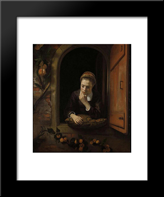 Girl At A Window (Also Known As The Daydreamer): Modern Black Framed Art Print by Nicolaes Maes