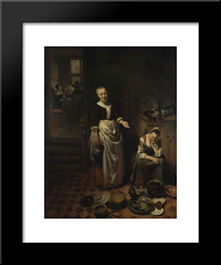 Interior With A Sleeping Maid - The Idle Servan: Modern Black Framed Art Print by Nicolaes Maes