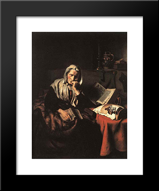 Old Woman Dozing: Modern Black Framed Art Print by Nicolaes Maes