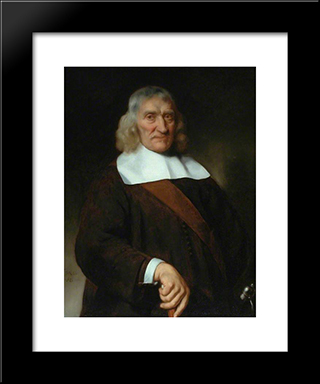 Portraif Of A Venerable-Looking Old Man: Modern Black Framed Art Print by Nicolaes Maes
