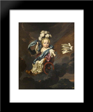 Portrait Of A Baby Girl As Venus With A Chariot Drawn By Doves: Modern Black Framed Art Print by Nicolaes Maes