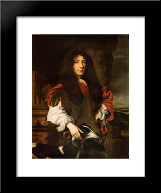 Portrait Of A Gentleman (The Earl Of Sheffield): Modern Black Framed Art Print by Nicolaes Maes