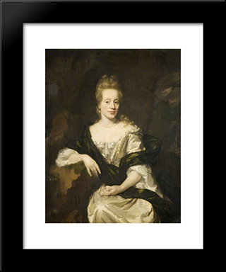 Portrait Of A Lady: Modern Black Framed Art Print by Nicolaes Maes