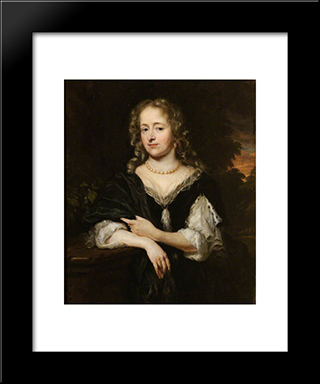 Portrait Of A Lady In A Black Dress: Modern Black Framed Art Print by Nicolaes Maes