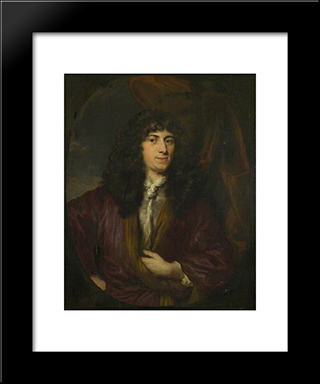 Portrait Of A Man In A Black Wig: Modern Black Framed Art Print by Nicolaes Maes